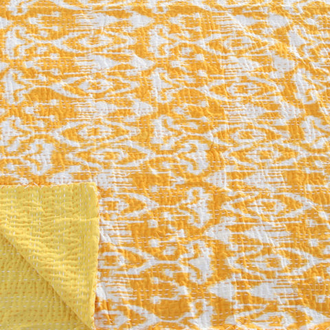 IKAT YELLOW COTTON THROW