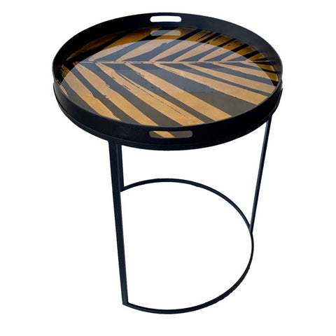 Round Black & Gold Side Table Tray
