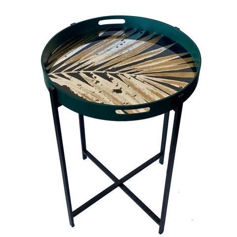 Round Green, Black & Gold Leaf Table Tray