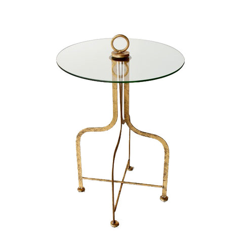 ROUND GLASS & METAL TABLE