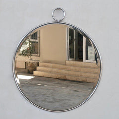 Large Round Metal Framed Mirror