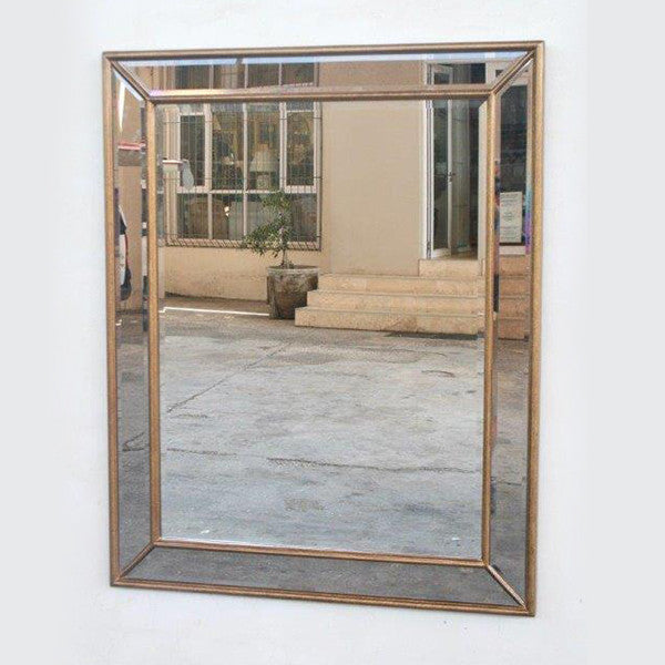Large Gold Rectangle Framed Mirror