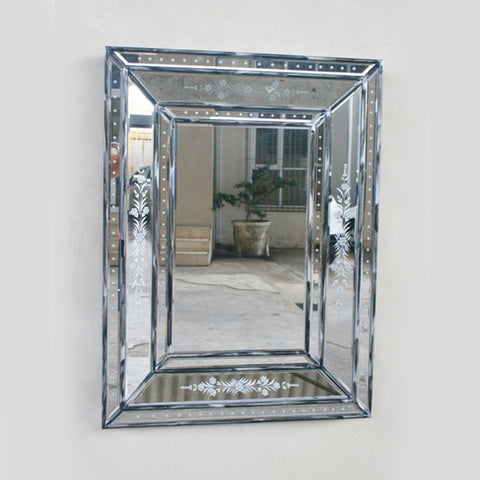 RECTANGULAR SILVER DISTRESSED  VENETIAN MIRROR