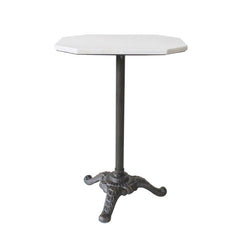 BLACK CAST IRON & MARBLE SIDE TABLE