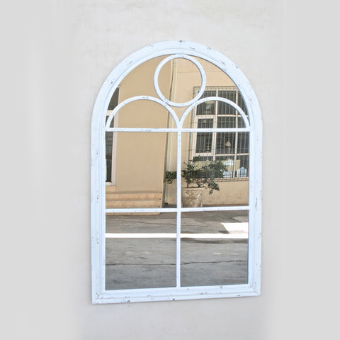 ANTIQUE WHITE ARCH TOP MIRROR