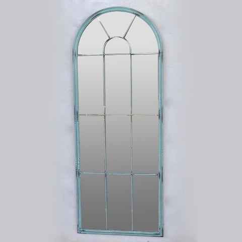 GREEN SEA-FOAM DISTRESSED ARCH MIRROR