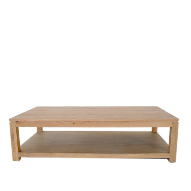 Oak Coffee Table with Shelf Square Legs