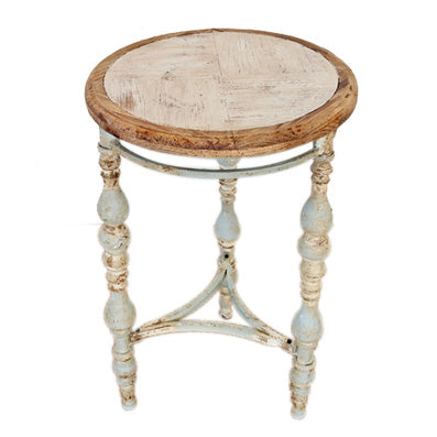 Distressed Blue and White Round Table