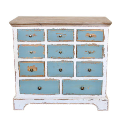 11 DRAWER VERY DISTRESSED BLUE & WHITE CHEST DRAWERS