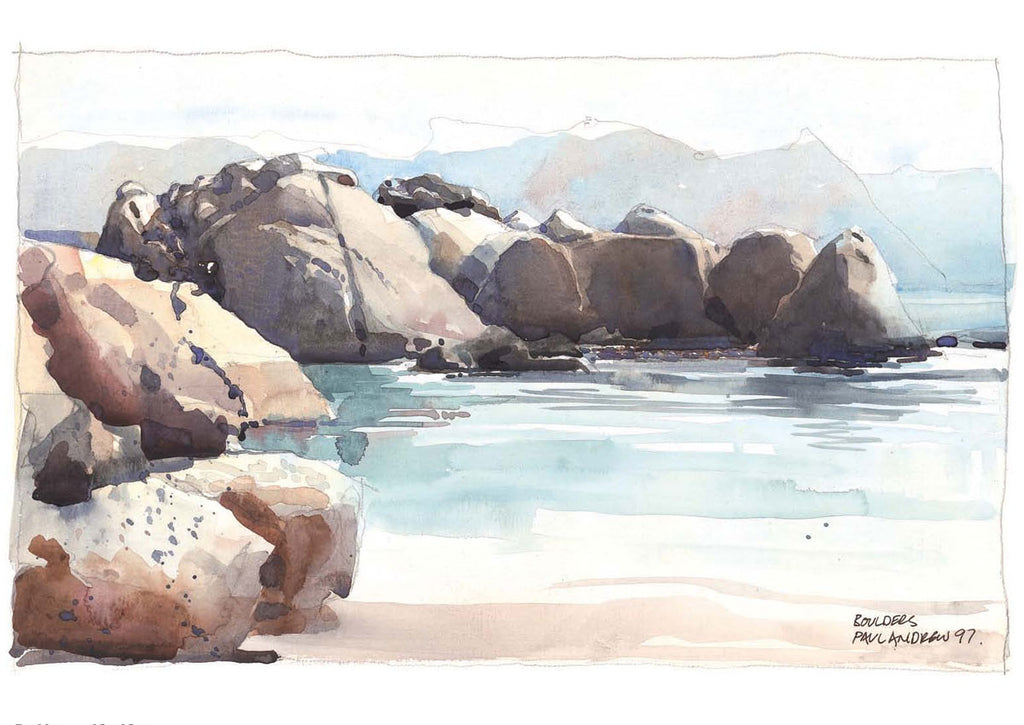 Boulders Beach Watercolor | Paintings of South Africa
