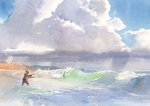 Fly Fishing in the Surf | Paul Andrew Watercolor