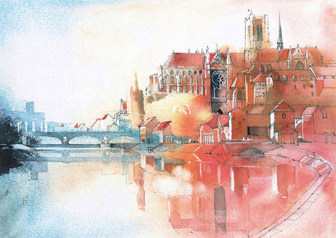 Auxerre Cathedral - France | Paul Andrew Watercolor
