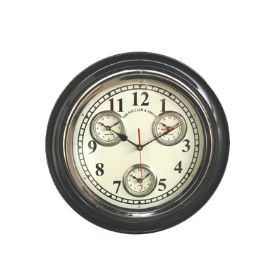 Silver and Wood World Time Clock