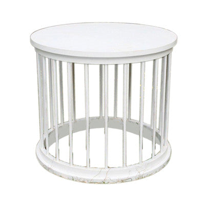 Drum Dowel Table - White