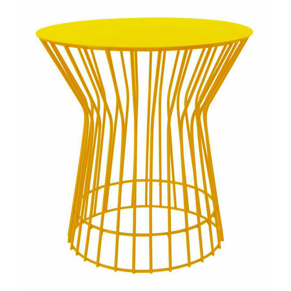 Steel drum side tables in various colours wire tables yellow coloured drum side table modern wire tables greentooth Image collections
