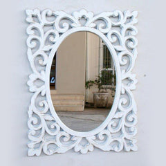 Filigree White Cut-out Mirror