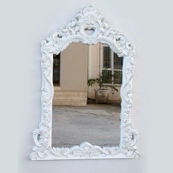 Embossed White Mantle Mirror