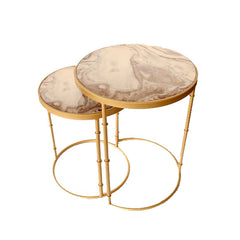 SET OF 2 MARBLE LOOK BROWN, BEIGE SWIRL SIDE TABLE