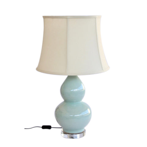 Aqua Bulb Shaped Lamp Cream Shade
