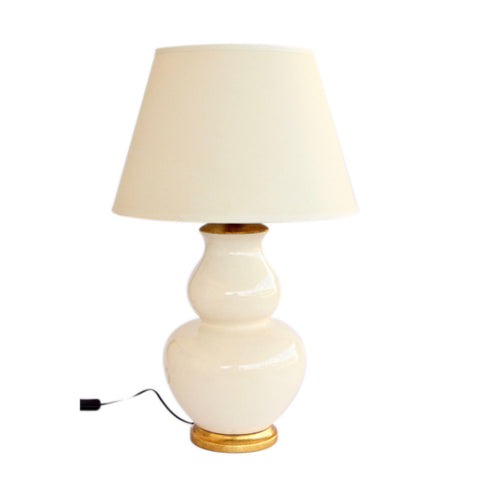 Cream Balbous Lamp Beige Shade
