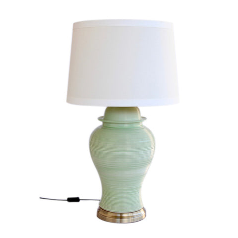 PALE GREEN RIDGED LAMP CREAM SHADE