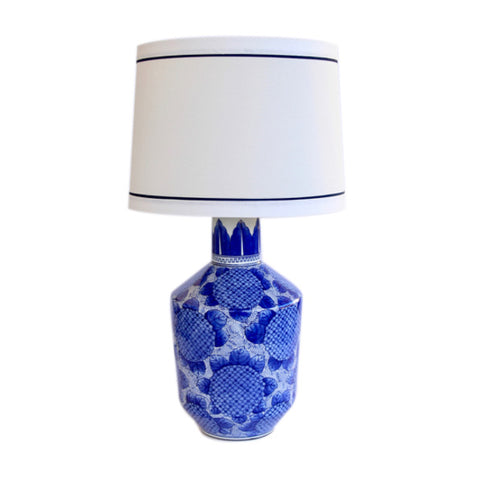 Blue & White Hydrangea Lamp - Cream Shade