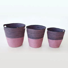 Set of 3 Mauve and Navy Baskets
