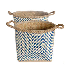 Set of 2 Palm Leaf Baskets Navy and Natural
