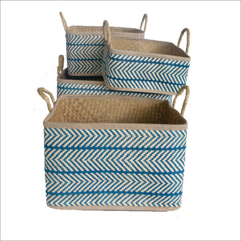 Set of 4 Palm Leaf Baskets Navy and Natural