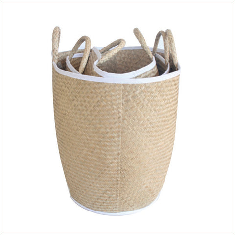 Set of 3 Tall Seagrass Baskets White Trim
