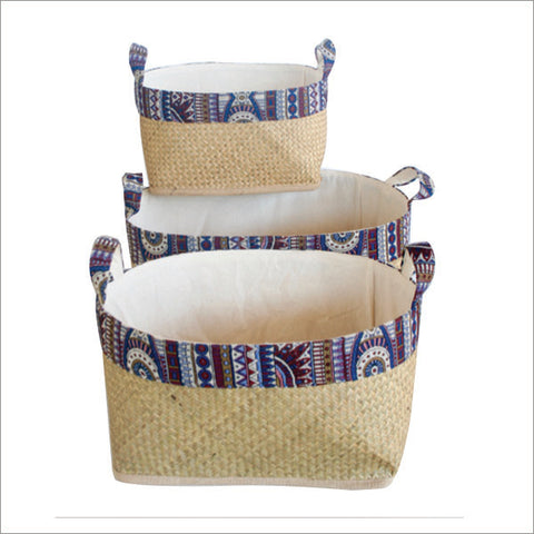 Set of 3 Lined Bamboo Baskets with Tribal Blue Trim