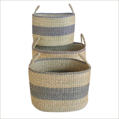 Set of 3 Seagrass Baskets Natural Lavender Colour