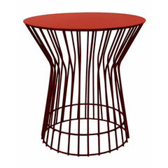 Red Wire Drum Table | Modern Side Tables
