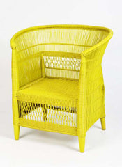 Yellow Woven Malawian Chair | Vintage African Furniture