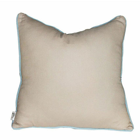 Beige Linen Cushion with Sky Blue Piping