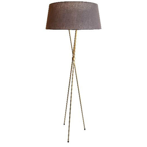 Tripod M/ Steel Gold Floor Lamp