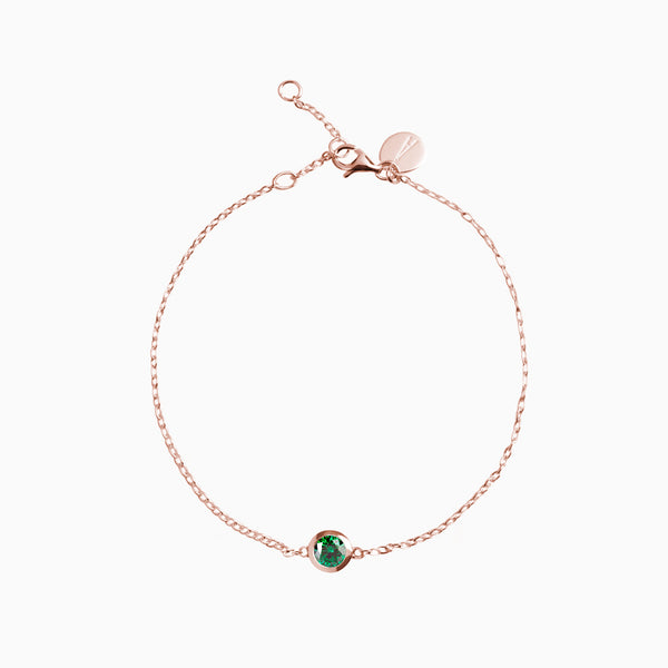 Iconic Gold Rose Zirconia Emerald Bracelet