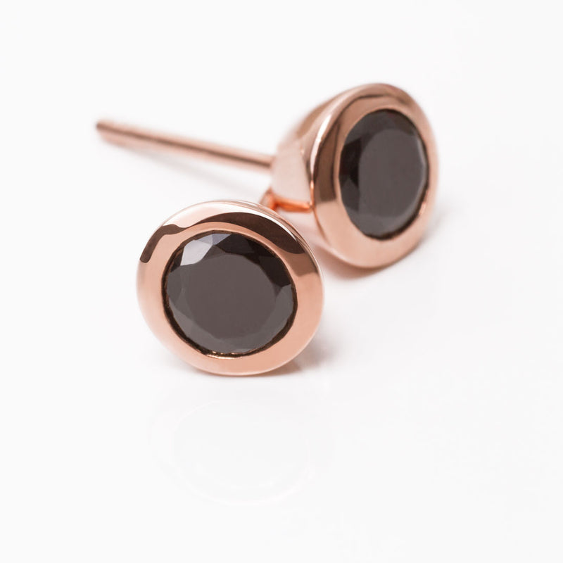 Iconic Rose Gold Zirconia Black Earrings