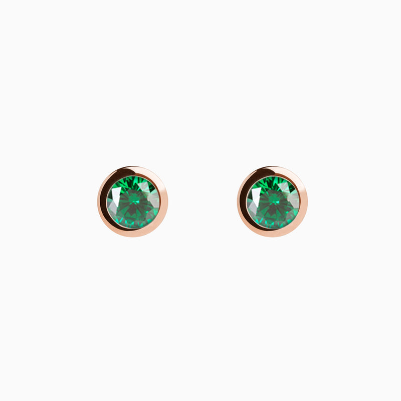 Iconic Rose Gold Zirconia Emerald Earrings