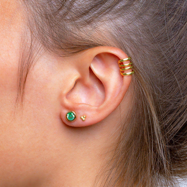Iconic Gold Zirconia Emerald Earrings