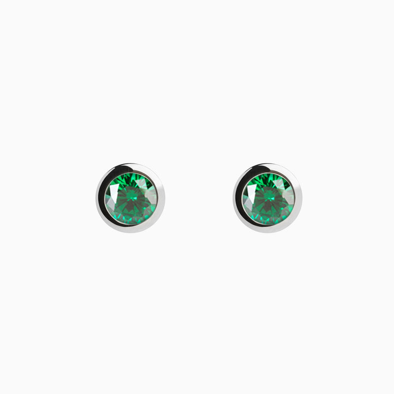 Iconic Silver Zirconia Emerald Earrings