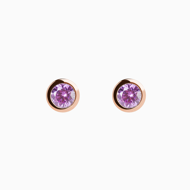 Iconic Rose Gold Zirconia Purple Earrings