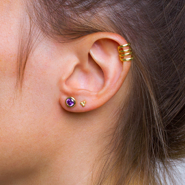 Iconic Gold Zirconia Purple Earrings