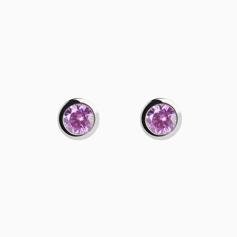 Iconic Silver Zirconia Purple Earrings