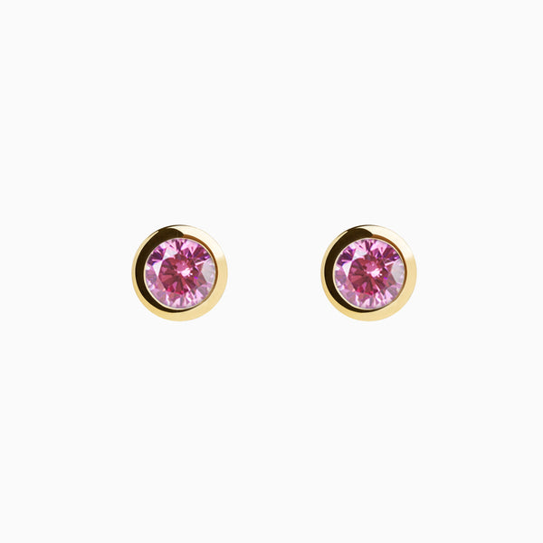 Iconic Gold Zirconia Pink Earrings