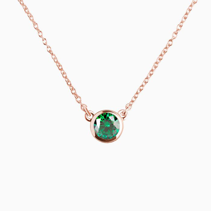 Iconic Pendant Gold Rose Zirconia Emerald