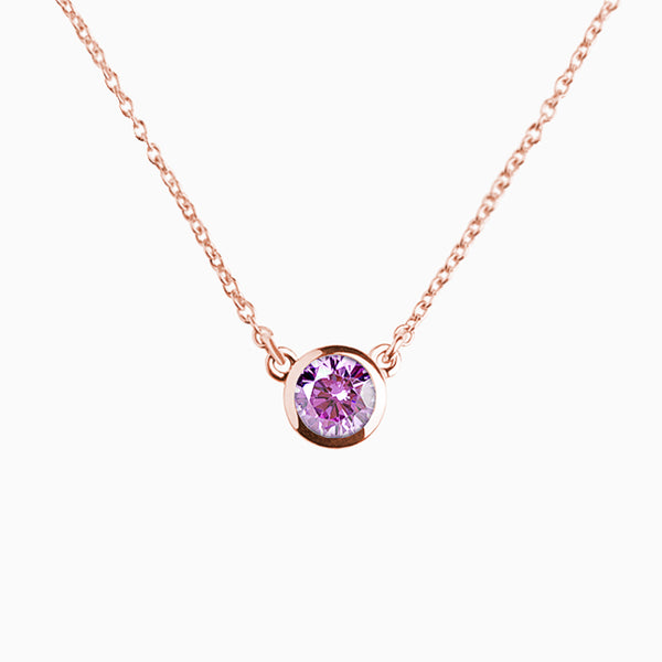 Iconic Pendant Gold Rose Zirconia Purple
