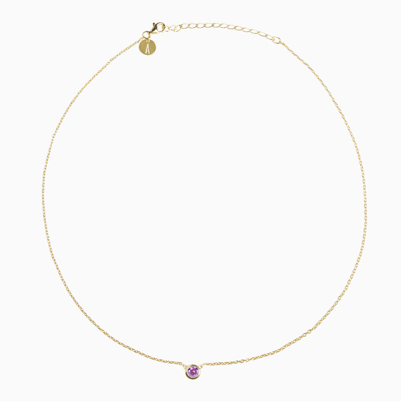 Iconic Pendant Gold Zirconia Purple
