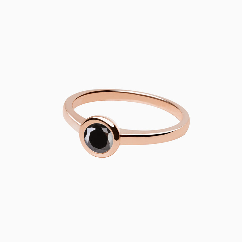 Ring Iconic Black Zirconia Rose Gold