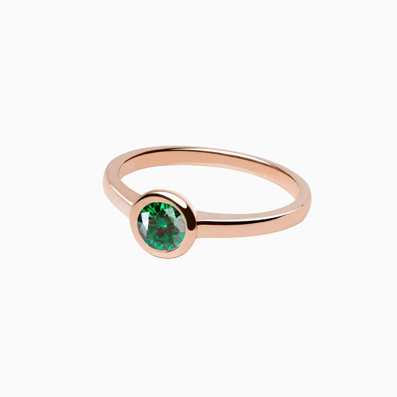Iconic Ring Rose Gold Zirconia Emerald